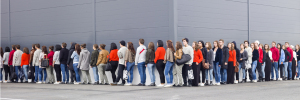 Photo of people waiting in line